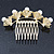 Bridal/ Wedding/ Prom/ Party Gold Plated Clear Austrian Crystal, Glass Pearl Lily Hair Comb - 100mm - view 4