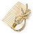 Bridal/ Wedding/ Prom/ Party Gold Plated Clear Austrian Crystal Bow Side Hair Comb - 65mm - view 4