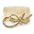Bridal/ Wedding/ Prom/ Party Gold Plated Clear Austrian Crystal Bow Side Hair Comb - 65mm - view 5