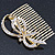 Bridal/ Wedding/ Prom/ Party Gold Plated Clear Austrian Crystal Bow Side Hair Comb - 65mm - view 6
