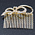 Bridal/ Wedding/ Prom/ Party Gold Plated Clear Austrian Crystal Bow Side Hair Comb - 65mm - view 7