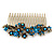 Vintage Inspired Teal/ AB Swarovski Crystal 'Flowers' Side Hair Comb In Antique Gold Tone - 105mm - view 9