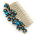 Vintage Inspired Teal/ AB Swarovski Crystal 'Flowers' Side Hair Comb In Antique Gold Tone - 105mm - view 10