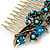 Vintage Inspired Teal/ AB Swarovski Crystal 'Flowers' Side Hair Comb In Antique Gold Tone - 105mm - view 6