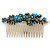 Vintage Inspired Teal/ AB Swarovski Crystal 'Flowers' Side Hair Comb In Antique Gold Tone - 105mm - view 11
