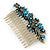 Vintage Inspired Teal/ AB Swarovski Crystal 'Flowers' Side Hair Comb In Antique Gold Tone - 105mm - view 7