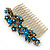 Vintage Inspired Teal/ AB Swarovski Crystal 'Flowers' Side Hair Comb In Antique Gold Tone - 105mm - view 2
