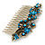 Vintage Inspired Teal/ AB Swarovski Crystal 'Flowers' Side Hair Comb In Antique Gold Tone - 105mm - view 8