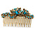 Vintage Inspired Teal Blue Swarovski Crystal 'Butterfly' Side Hair Comb In Antique Gold Tone - 105mm - view 2
