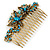 Vintage Inspired Teal Blue Swarovski Crystal 'Butterfly' Side Hair Comb In Antique Gold Tone - 105mm - view 7