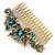 Vintage Inspired Teal Blue Swarovski Crystal 'Butterfly' Side Hair Comb In Antique Gold Tone - 105mm - view 8