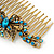 Vintage Inspired Teal Blue Swarovski Crystal 'Butterfly' Side Hair Comb In Antique Gold Tone - 105mm - view 5