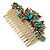 Vintage Inspired Teal Blue Swarovski Crystal 'Butterfly' Side Hair Comb In Antique Gold Tone - 105mm