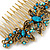 Vintage Inspired Teal Blue Swarovski Crystal 'Butterfly' Side Hair Comb In Antique Gold Tone - 105mm - view 4