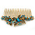 Vintage Inspired Teal Blue Swarovski Crystal 'Butterfly' Side Hair Comb In Antique Gold Tone - 105mm - view 6