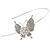 Bridal/ Wedding/ Prom Rhodium Plated White Faux Pearl, Crystal Butterfly Tiara Headband