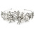 Statement Bridal/ Wedding/ Prom Rhodium Plated Clear Crystal, White Glass Flowers & Leaves Tiara Headband - view 6