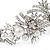Statement Bridal/ Wedding/ Prom Rhodium Plated Clear Crystal, White Glass Flowers & Leaves Tiara Headband - view 3