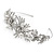 Statement Bridal/ Wedding/ Prom Rhodium Plated Clear Crystal, White Glass Flowers & Leaves Tiara Headband - view 4