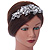 Statement Bridal/ Wedding/ Prom Rhodium Plated Clear Crystal, White Glass Flowers & Leaves Tiara Headband - view 2