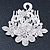 Bridal/ Wedding/ Prom/ Party Rhodium Plated Clear Austrian Crystal Floral Side Hair Comb - 8cm Width