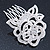 Bridal/ Wedding/ Prom/ Party Rhodium Plated Clear Austrian Crystal Sculptured Rose Hair Comb - 55mm - view 3