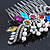 Bridal/ Wedding/ Prom/ Party Rhodium Plated Multicoloured Austrian Crystal, Faux Pearl Floral Hair Comb - 10cm W - view 3