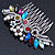 Bridal/ Wedding/ Prom/ Party Rhodium Plated Multicoloured Austrian Crystal, Faux Pearl Floral Hair Comb - 10cm W - view 10