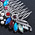 Bridal/ Wedding/ Prom/ Party Rhodium Plated Multicoloured Austrian Crystal, Faux Pearl Floral Hair Comb - 10cm W - view 11