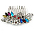 Bridal/ Wedding/ Prom/ Party Rhodium Plated Multicoloured Austrian Crystal, Faux Pearl Floral Hair Comb - 10cm W - view 4