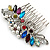 Bridal/ Wedding/ Prom/ Party Rhodium Plated Multicoloured Austrian Crystal, Faux Pearl Floral Hair Comb - 10cm W - view 5