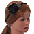 Thin Black With Side Silk & Feather Rose Flower Alice/ Hair Band/ HeadBand - view 2