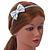Thin Metallic Silver Faux Leather With Side Textured Bow Alice/ Hair Band/ HeadBand - view 2