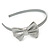 Thin Metallic Silver Faux Leather With Side Textured Bow Alice/ Hair Band/ HeadBand - view 6