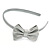 Thin Metallic Silver Faux Leather With Side Textured Bow Alice/ Hair Band/ HeadBand - view 5