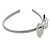Thin Metallic Silver Faux Leather With Side Textured Bow Alice/ Hair Band/ HeadBand - view 7