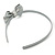 Thin Metallic Silver Faux Leather With Side Textured Bow Alice/ Hair Band/ HeadBand - view 4