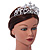 Statement Bridal/ Wedding/ Prom Rhodium Plated Austrian Crystal, Glass Pearl Leaf Tiara - view 3