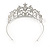 Statement Bridal/ Wedding/ Prom Rhodium Plated Austrian Crystal, Glass Pearl Leaf Tiara - view 5