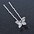 Bridal/ Wedding/ Prom/ Party Set Of 6 Rhodium Plated Crystal 'Butterfly' Hair Pins - view 10
