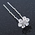 Bridal/ Wedding/ Prom/ Party Set Of 6 Clear Austrian Crystal Daisy Flower Hair Pins In Silver Tone - view 7