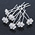 Bridal/ Wedding/ Prom/ Party Set Of 6 Clear Austrian Crystal Daisy Flower Hair Pins In Silver Tone - view 6