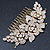 Oversized Bridal/ Wedding/ Prom/ Party Gold Plated Clear Crystal Triple Rose Floral Hair Comb - 110mm - view 7