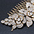 Oversized Bridal/ Wedding/ Prom/ Party Gold Plated Clear Crystal Triple Rose Floral Hair Comb - 110mm - view 6