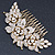 Oversized Bridal/ Wedding/ Prom/ Party Gold Plated Clear Crystal Triple Rose Floral Hair Comb - 110mm - view 8