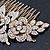 Oversized Bridal/ Wedding/ Prom/ Party Gold Plated Clear Crystal Triple Rose Floral Hair Comb - 110mm - view 9