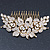 Oversized Bridal/ Wedding/ Prom/ Party Gold Plated Clear Crystal Triple Rose Floral Hair Comb - 110mm - view 10