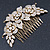 Oversized Bridal/ Wedding/ Prom/ Party Gold Plated Clear Crystal Triple Rose Floral Hair Comb - 110mm - view 5
