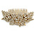 Oversized Bridal/ Wedding/ Prom/ Party Gold Plated Clear Crystal Triple Rose Floral Hair Comb - 110mm - view 4