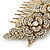 Oversized Bridal/ Wedding/ Prom/ Party Gold Plated Clear Crystal Triple Rose Floral Hair Comb - 110mm - view 3